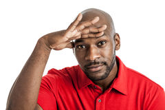 Black Man Looking Out Royalty Free Stock Photos