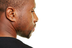 Black man looking pensive stock images