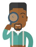 Black man with magnifying glass. A black man with magnifying glass. A Contemporary style. Vector flat design illustration isolated white background. Vertical Stock Photo