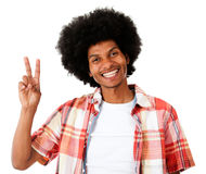 Black man making a peace sign Stock Photography