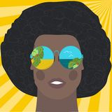 Black man in the mirrored glasses. vector illustration