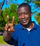 Black Man In The Park. Looking Royalty Free Stock Photo