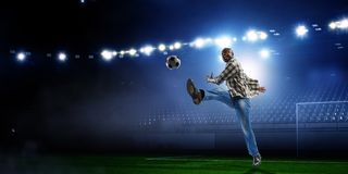 Black man plays his best soccer match royalty free stock images