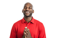 Black man with prayer hands Stock Photos