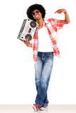 Black man with a radio Stock Photography
