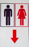 Black man and red woman toilet icon Stock Photo