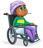 A Black man riding on a wheelchair Royalty Free Stock Photography