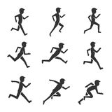 Black man running figure isolated on white background. Man motion and activity vector pictograms Royalty Free Stock Photo