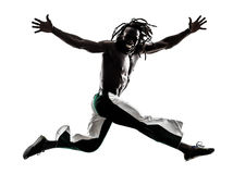 Black man running jumping silhouette Stock Photo