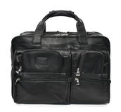 Black mans bag on a white background. Mans bag with four rectangular, zippered compartments Stock Photos