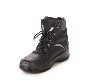 Black Man S Boot With Gray Bar. Stock Photography