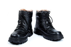 Black man's boots, on the white background Royalty Free Stock Photo