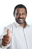 Black man in shirt with expression, thumb up Stock Image