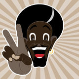 Black man shows peace. A happy black man shows peace with his hand. Vector illustration in EPS 10 Royalty Free Stock Photography