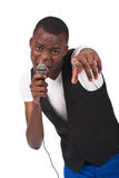 Black man singing. Beautiful and handsome black man singing Royalty Free Stock Image