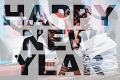Black Man Sits At The Desk On The New Year`s Eve. vector illustration