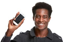 Black man with smartphone Stock Photography