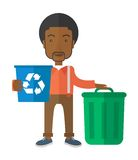 Black man sorting a trash. A black man standing outside the house sorting a trash and will throw to the barbage bin. Eco-friendly. A Contemporary style. Vector Royalty Free Stock Image