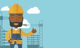 Black man standing infront of construction crane Royalty Free Stock Photo