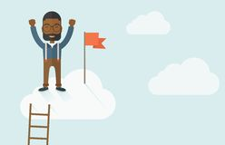 Black man standing on the top of cloud with red Stock Photo