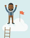 Black man standing on the top of cloud with red Stock Photography