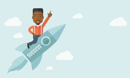 Black man in start up business. A black man with a beard flying on the rocket raising his hand in the air as his start up. Success concept. A Contemporary style Stock Photo