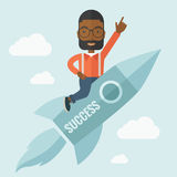 Black man in start up business. A black man flying on the rocket raising his hand in the air as his start up. Success concept. A Contemporary style with pastel Royalty Free Stock Photography