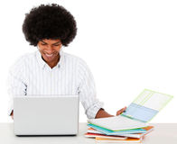 Black man studying online Stock Photography