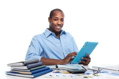 Black man with tablet computer Royalty Free Stock Images