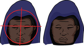 Black Man Targeted. Hooded Black man with gun target on his face royalty free illustration