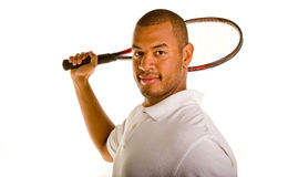 Black Man with Tennis Racket Behind Head Stock Photos
