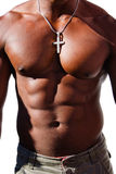 Black man torso with diamond cross Stock Photo