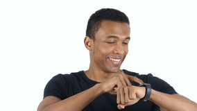 Black Man Using Smartwatch. Designer , young man , handsome stock video footage