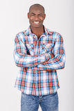 Black man wearing casual clothes in black background Stock Image