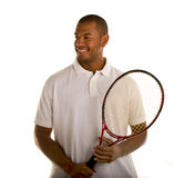 Black Man in White Shirt and Tennis Racket Royalty Free Stock Images