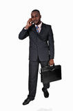 Black Man With Cell Phone. Royalty Free Stock Photos