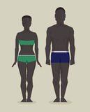 Black man and woman bodies. Black man and black woman bodies. Vector infographic illustration Stock Photo