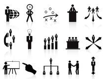 Black management icons set Stock Images