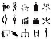 Black management icons set stock illustration