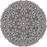 Black mandala for coloring. Isolated element colouring page. Art design. Unusual pattern in Indian style tattoo. Outline flower. Royalty Free Stock Photography