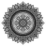 Black mandala, indian motif. Ornate round ornament. Hand drawn detailed vector illustration Royalty Free Stock Photography