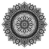 Black mandala, indian motif. Ornate round ornament Royalty Free Stock Photography