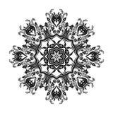 Black mandala silhouette for calligraphic design. Vector frame. On white vector illustration