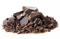 Black mangled chocolate. Isolated on white background Royalty Free Stock Image