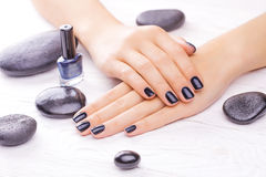 Black manicure with black stones Stock Image