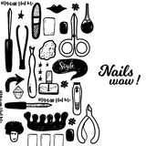 Black Manicure tools hand drawn vector banner with lettering and hand drawn make up items for promotion Stock Images