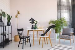 Black mannequin`s leg on wooden chair in elegant dining room interior with round wooden table, metal shelf and retro armchair,. Real photo with copy space stock photo