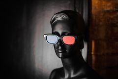 Black mannequin in stereo glasses Royalty Free Stock Photos