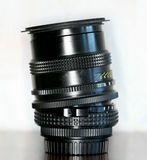 Black manual tilt shift lens. Manual old tilt-shift lens Royalty Free Stock Photography