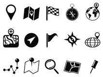 Black map icons set Royalty Free Stock Photo
